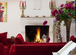 Salon et cheminée pour les hôtes à En Naudet Tarn